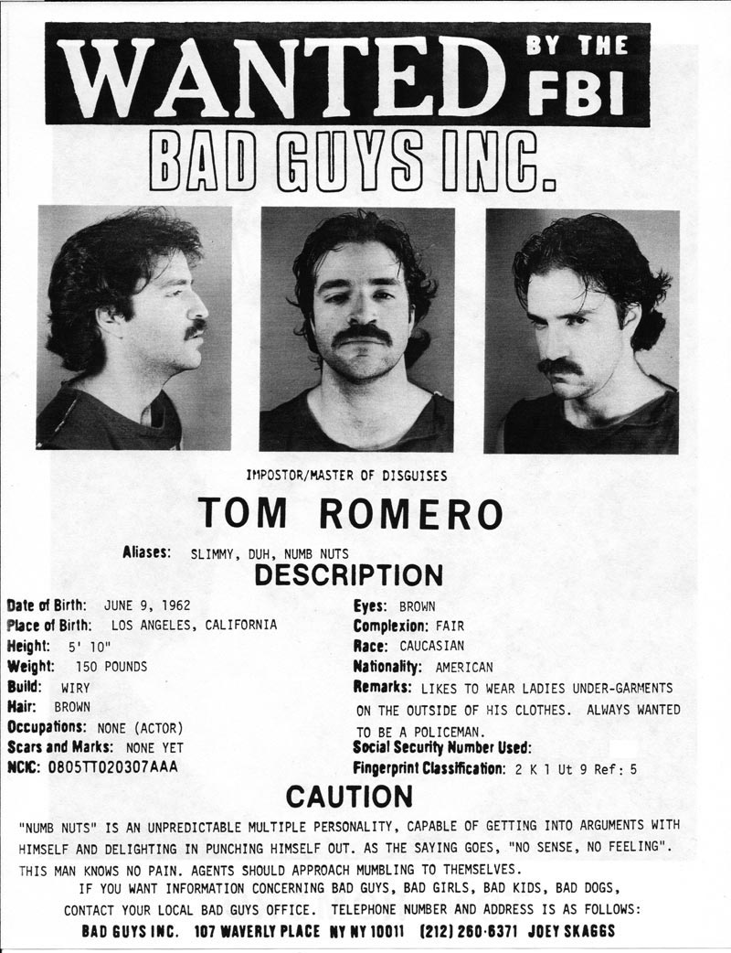 Tom Romero's headshot (back) from Bad Guys Talent Management Agency