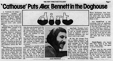 New York Daily Planet, Dirt: 'Cathouse' Puts Alex Bennett in the Doghouse, May 1, 1976