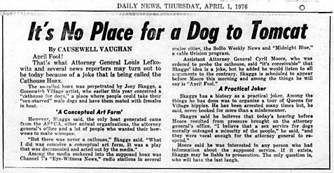 Daily News, It's No Place for a Dog to Tomcat, April 1, 1976