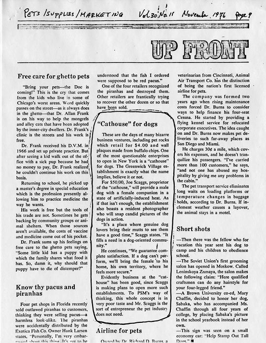 """Pets Supplies Marketing, Vol 30 No 11, Upfront: """"Cathouse"""" for dogs, November 1976"""