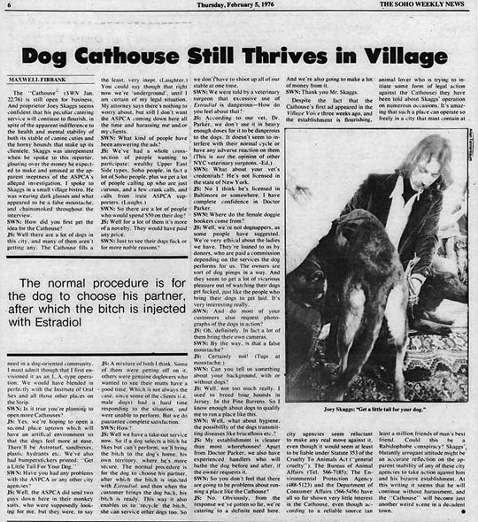 The Soho Weekly News, Dog Cathouse Still Thrives in Village, February 5, 1976