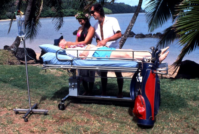 Dr. Joseph Schlafer, aka Joey Skaggs, Anesthesiologist, with Comacocoon Client, 1990