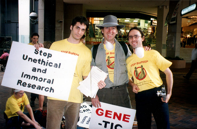 Joe Howard, aka Joey Skaggs, with Stop BioPEEP Protestors in Brisbane, Australia