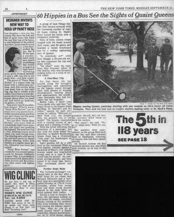 60 Hippies in a Bus See the Sights of Quaint Queens, New York Times, September 23, 1968