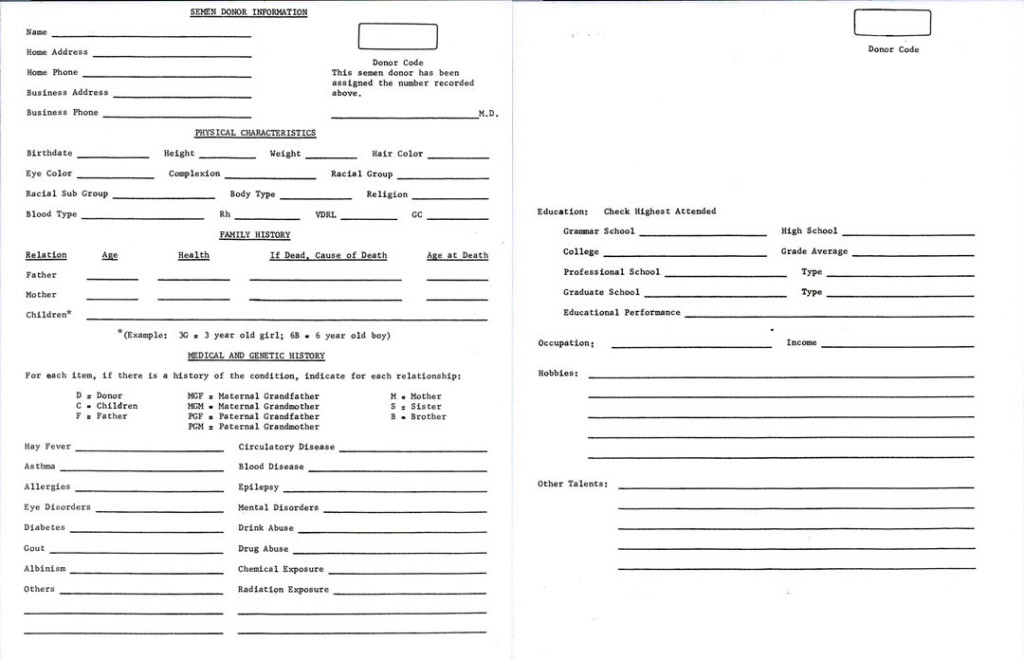 Celebrity Sperm Bank Donor Application