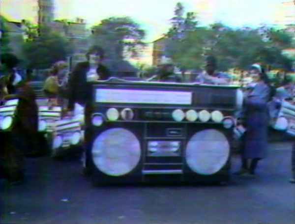 World's largest radio, from Joey Skaggs' Disco Radio performance, 1978