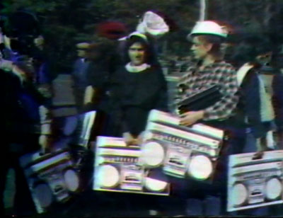 "SVA students participate in Joey Skaggs' ""Disco Radio"" street performance, 1978"