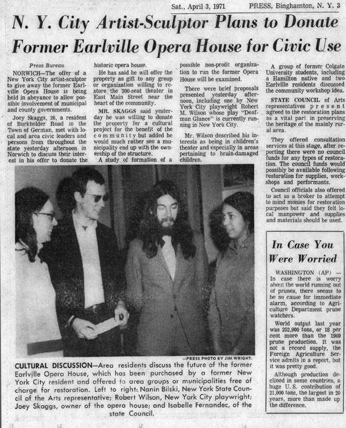 N.Y. City Artist-Sculptor Plans to Donate Former Earlville Opera House for Civic Use, Binghamton Press, April 3, 1971