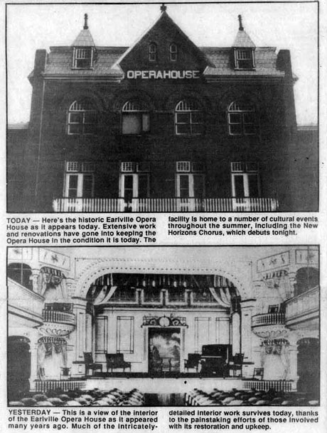 Earlville Operahouse history from the Evening Sun Weekend 7-16-93