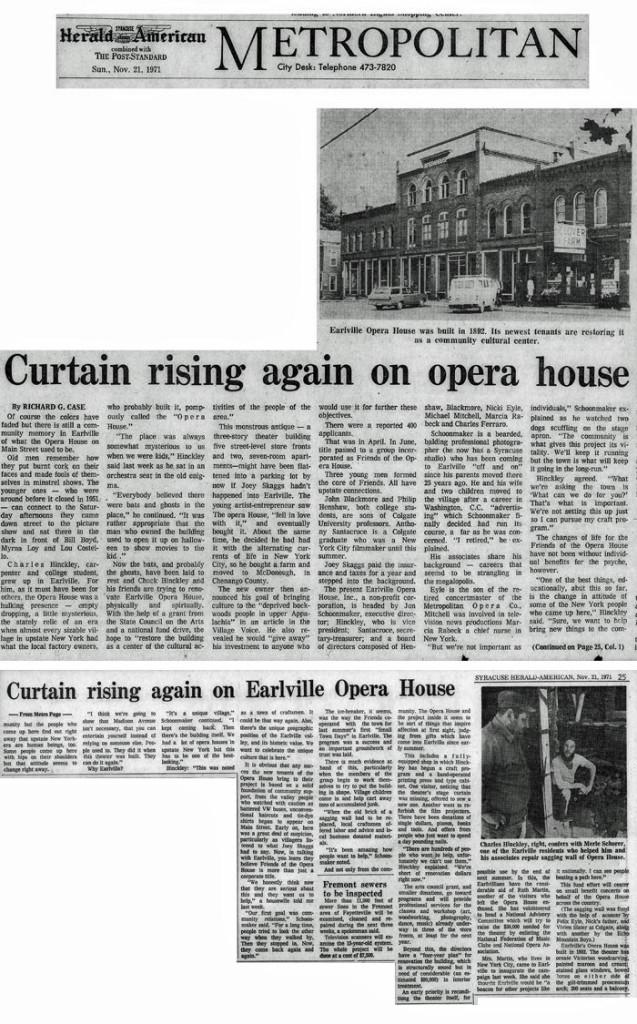 Curtain Rising Again on Opera House, by Richard G. Case, Syracuse Herald American, November 21, 1971
