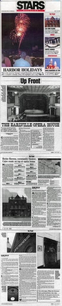 Upfront: The Earlville Operahouse, by Mark Bialczak, Syracuse Herald American, July 18, 1993