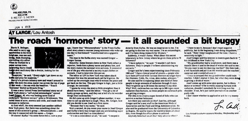 The 'roach' hormone story - it all sounded a bit buggy, by Lou Antosh, Bulletin, Philadelphia PA, June 1, 1981