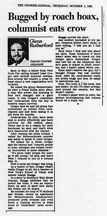 Bugged by roach hoax, columnist eats crow, by Glenn Rutherford, The Courier Journal, October 1, 1981