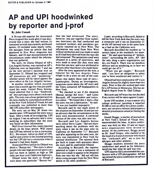 AP & UPI hookwinked by reporter and j-prof, by John Consoli, Editor & Publisher, October 3, 1981