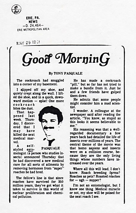Good Morning G, by Tony Pasquale, News, Erie, Pennsylvania, May 29, 1981
