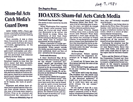 Sham-ful Acts Catch Media's Guard Down, Los Angeles Times, August 9, 1981