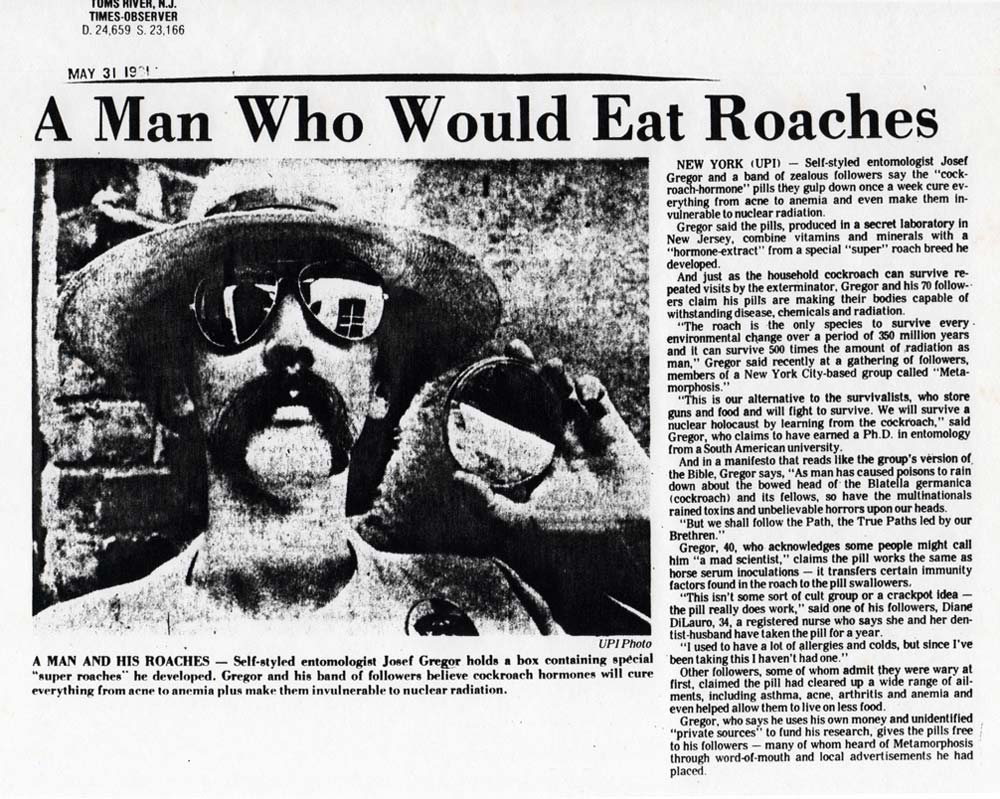 A Man Who Would Eat Roaches, UPI, Times-Observer, Toms River, New Jersey, May 31, 1981