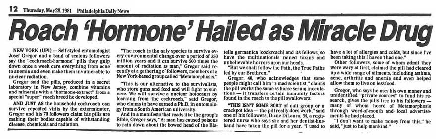 Philadelphia Daily News, Roach 'Hormone' Hailed as Miracle Cure, May 28, 1981