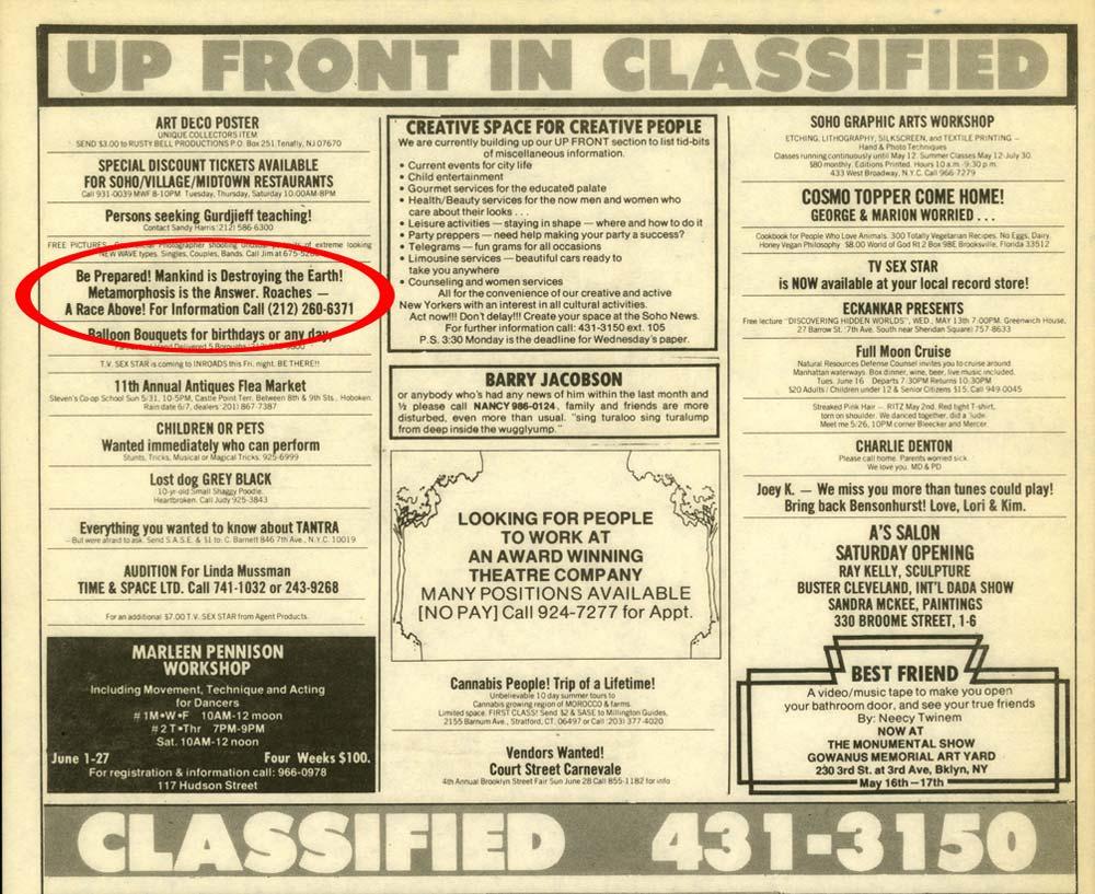 Metamorphosis Ad, Soho Weekly News, May 1981
