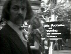 Sir Joseph Bucks (aka Joey Skaggs) with his luxury shoeshine stand on Wall Street