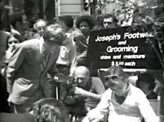 Joey Skaggs' Wall Street Shoe Shine performance