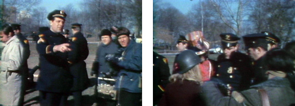 Cops arrive at Joey Skaggs' Vietnamese Christmas Nativity Burning event