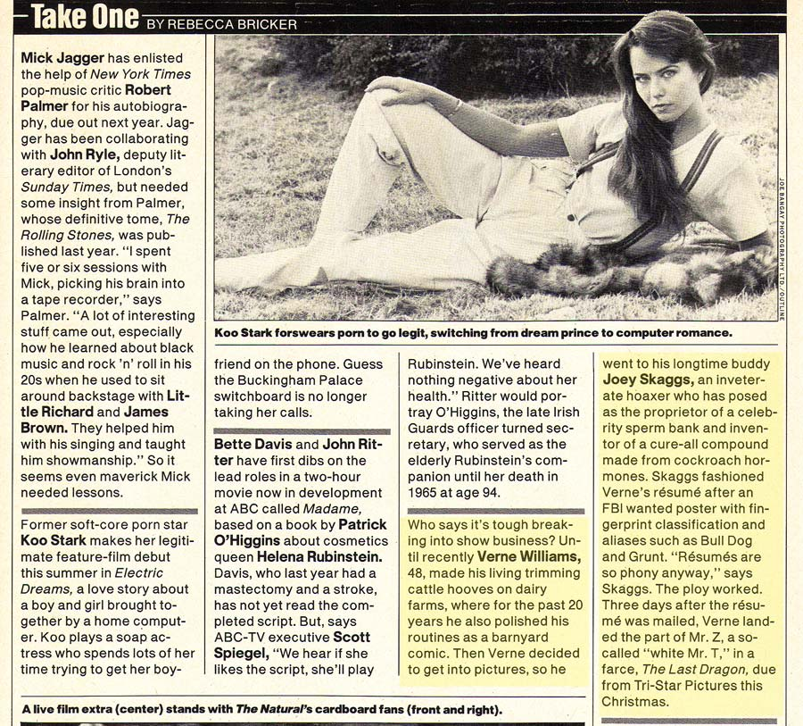 Take One, People Magazine, May, 28, 1984