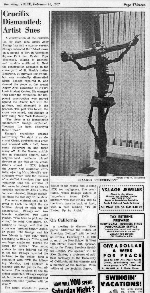 Crucifix Dismantled; Artist Sues, The Village Voice, February 16, 1967