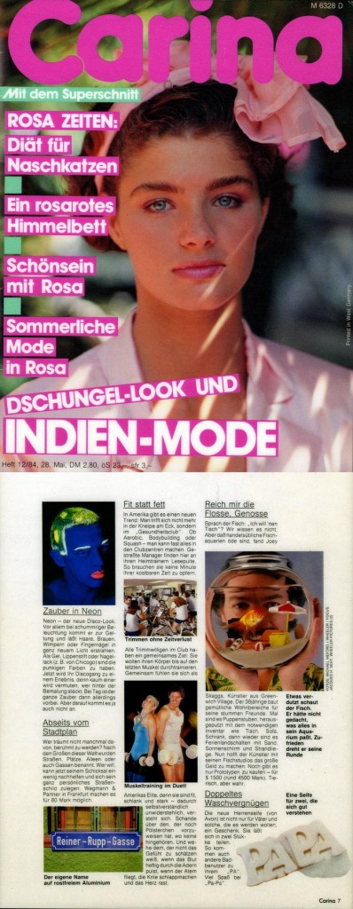 Trends & News, Reich mir die Flosse, Genosse, Fish, Carina (German), December 1984