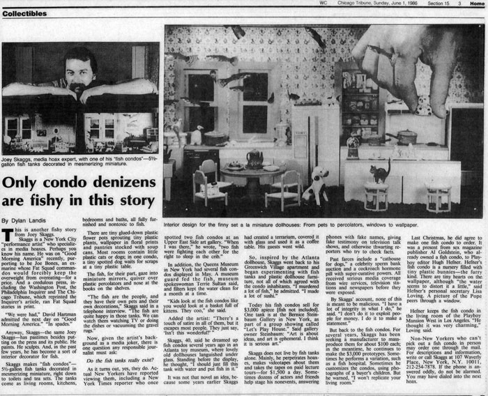 Only condo denizens are fishy in this story, by Dylan Landis, Chicago Tribune, June 1, 1986