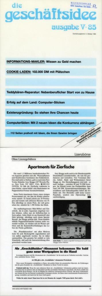 Apartments für Zierfische, Die Geschaftsidee (German), October 5, 1985