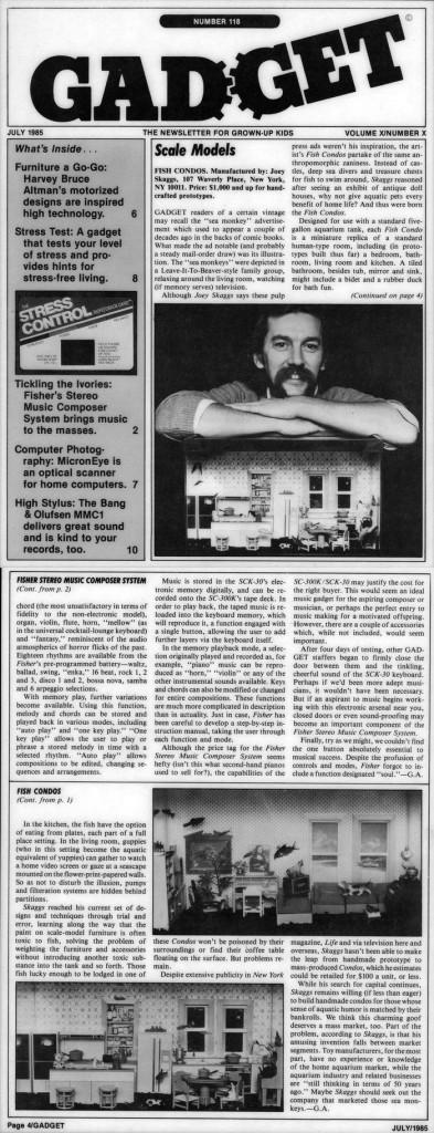 Scale Models, Gadget Newsletter, July 1985
