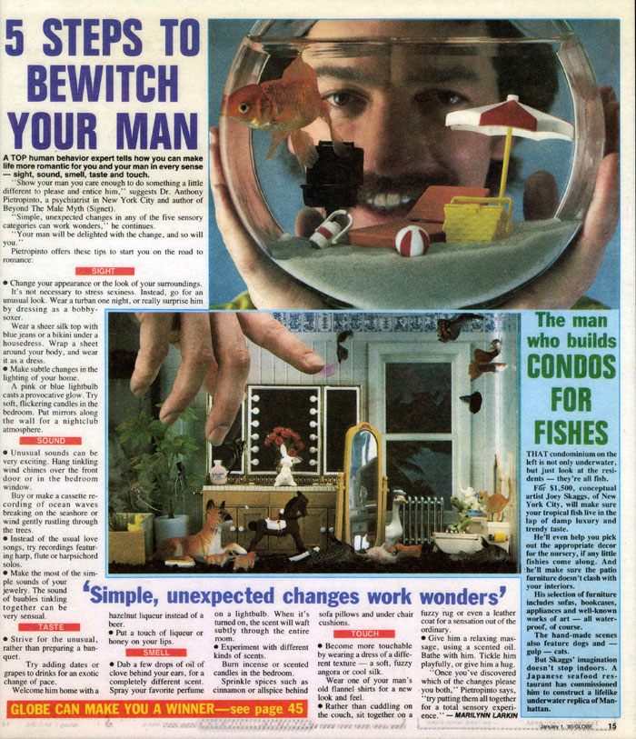 The man who builds Condos for Fish, Globe, January 1, 1985
