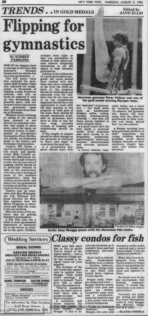 Trends: Classy condos for fish, edited by Jane Ellis, New York Post, August 2, 1984