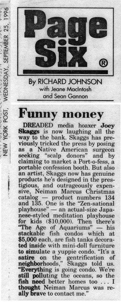 Page Six, Funny money, by Richard Johnson, New York Post, September 25, 1996