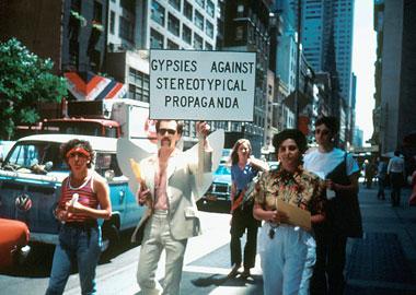 Joey Skaggs' Gypsies Against Stereotypical Propaganda protest