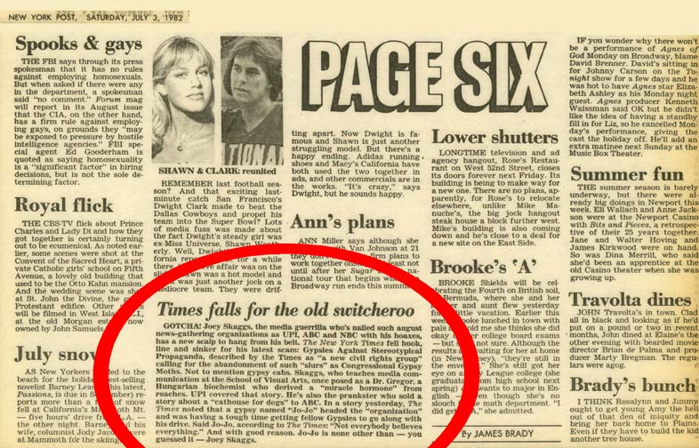 Page Six: Times falls for the old switcheroo, New York Post, July 3, 1982