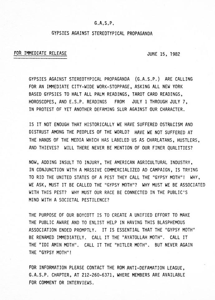 Press Release: G.A.S.P. - Gypsies Against Stereotypical Propaganda, June 15, 1982