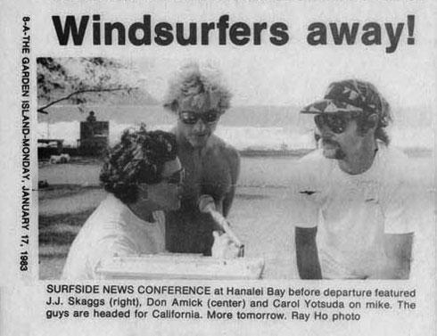 Windsurfers away!, Garden Island News, January, 17, 1983