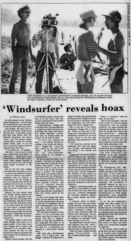 'Windsurfer reveals hoax, Garden Island News, January 24, 1983