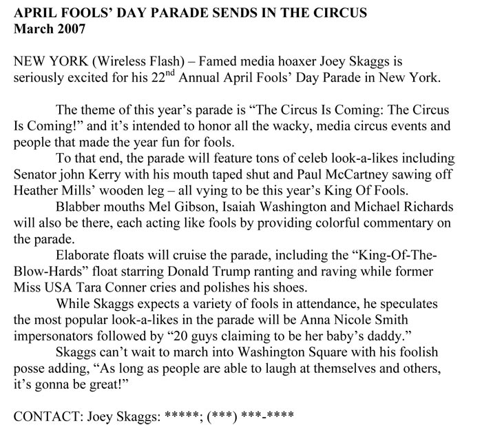 April Fools' Day Parade Sends in the Circus, Flashnews, March 2007