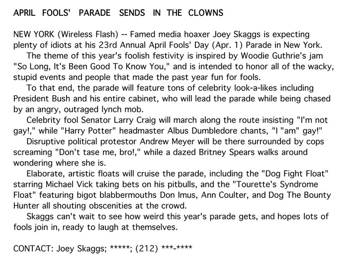 Aprils Fools' Parade Sends in the Clowns, Flashnews, March 2008