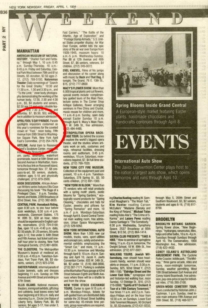 Weekend Events: April Fool's Day Parade, Newsday, April 1, 1994