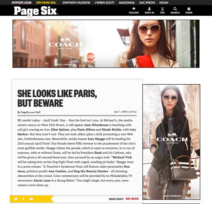 She Looks Like Paris But Beware, Page Six, New York Post, April 1, 2008