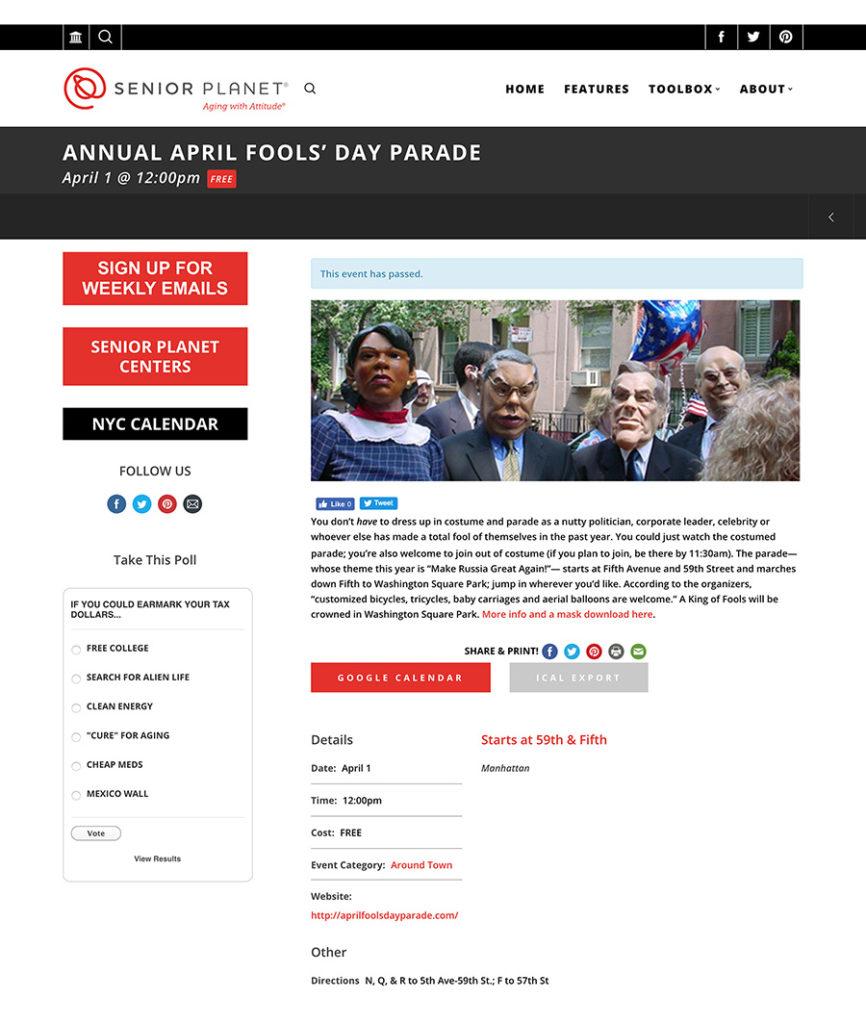 Annual April Fools' Day Parade Senior Planet, April 1, 2017