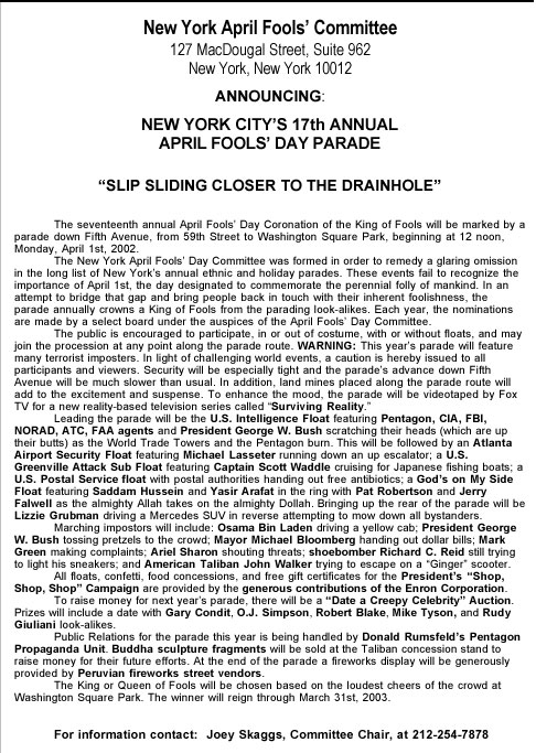 17th Annual April Fools' Day Parade press release, 2002