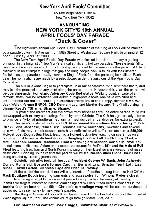 18th Annual April Fools' Day Parade press release, 2003