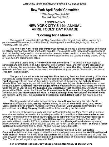 19th Annual April Fools' Day Parade press release, 2004