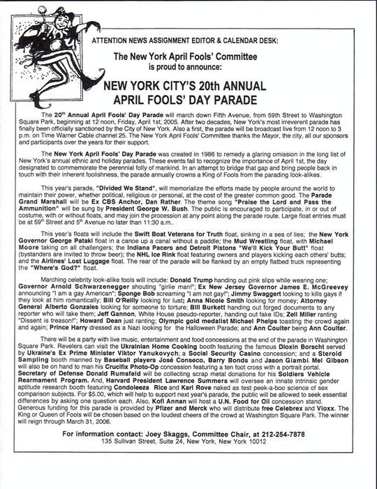 20th Annual April Fools' Day Parade press release, 2005