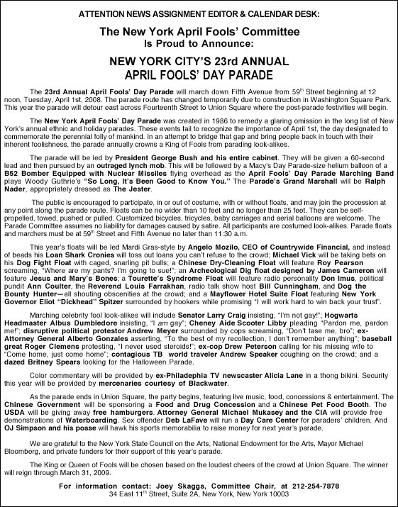 23rd Annual April Fools' Day Parade press release, 2008